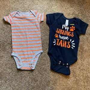 "6 month onesies ""my siblings have tails"" (set of2)"